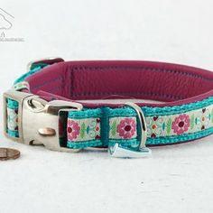 "Mini Leder Halsband ""Blumenkind"", pink  23,90€"