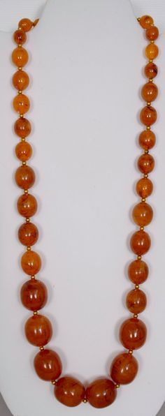 """30"""" Bakelite or early plastic different size beads, gold bead between, weight 105.9 grams by HersMineItems on Etsy"""
