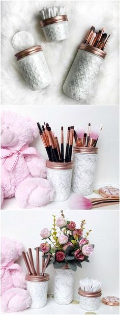 Rose gold marble jars, makeup brush holder, marble office decor, Marble desk accessories, marble home decor, white mason jar, kilner jar. White handpainted jars with a beautiful & detailed marble effect - perfect for makeup products, stationery, flowers,