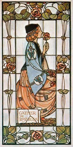 Art Nouveau stained-glass window by Alex Gascoyne, 1906