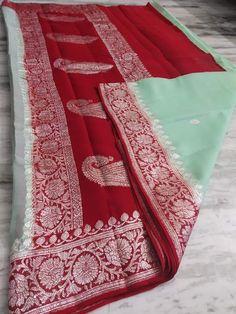 Banaras kadhi georgette sarees | ElegantFahionWear Simple Saree Designs, Simple Sarees, Banaras Sarees, Georgette Sarees, Lehenga Choli, Cotton Saree Designs, Elegant Fashion Wear, Chiffon Saree, Crepe Saree