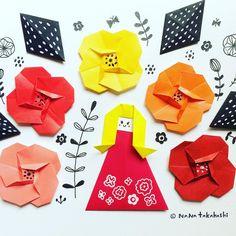 #red #orange #yellow ジョーネツ色のお花と女の子 #origami #illustration #papercraft #paperflower #kawaii #longhair #おりがみ #折り紙 #イラスト #お花 #おんなのこ #赤 #オレンジ #黄色 (Ikoma, Nara)