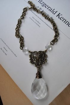 Antique Reclaimed Chandelier Crystal Necklace by SarahRenaeJewelry