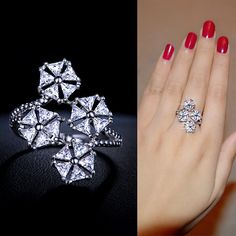 Open Flower Petals Cubic Zirconia Wrap Ring Micro Pave Cuff Diamond Ring Bypass Star Ring Double Long Trendy Ring Everyday Modern, by AmodeJewelry on Etsy Diamond Rings, Diamond Engagement Rings, Diamond Jewelry, Gold Jewelry, High Jewelry, Jewelry Rings, Jewelery, Beautiful Rings, Ring Designs