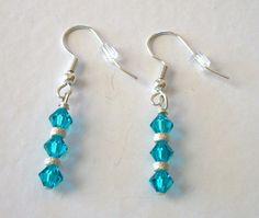 dangle earrings of Teal swarovski bicones by EarthlieTreasures, $9.50