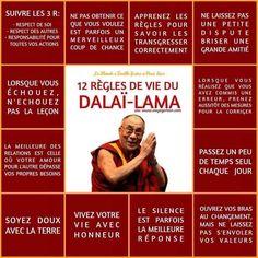 Life Quotes : 12 règles de vie du dalai lama - The Love Quotes Positive Mind, Positive Attitude, Positive Vibes, Positive Quotes, Strong Quotes, Attitude Quotes, Mantra, Osho, Merlin
