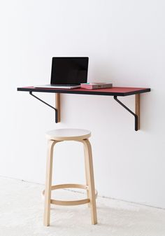 For a minimalistic, clean working space the Kaari wall console paired with the Bar Stool 64 is the perfect choice. The Bar Stool 64 was designed by Alvar Aalto (1898 - 1976) & is made to original designer specifications by Artek. The Kaari wall console (2015) from  French designers Ronan & Erwan Bouroullec can function as a piece for work and leisure, depending on what's your pleasure. Blue Shelves, Deep Shelves, Alvar Aalto, Table Furniture, Furniture Design, Ronan & Erwan Bouroullec, Workspace Inspiration, Home Office Space, Custom Cabinets