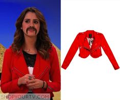 Austin & Ally: Season 4 Episode 7 Ally's Red Cropped Moto Jacket