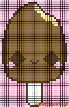 Free Cute Kawaii Ice Cream Popsicle Cross Stitch Chart or Hama Perler Bead Pattern