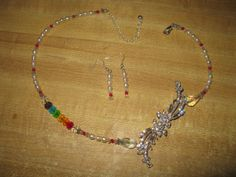 Necklace & earrings, pearls and crystal rainbow SALE