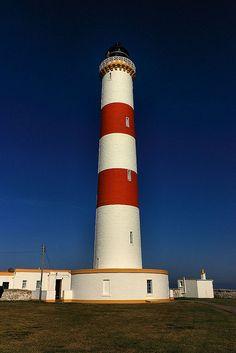 TARBAT NESS Lighthouse .North West tip of the Tarbat Ness peninsula near the fishing village of Portmahomack  Scotland.