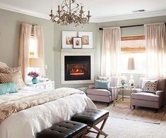 masterbedroom idea / ours is done, but can always use some upgrading once in a while.  I love the layered look of this cosy room