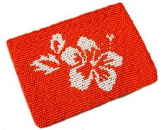 About Color Hibiscus Beaded Coin and ID Purse - Citrus / White by About Color, around $12.95