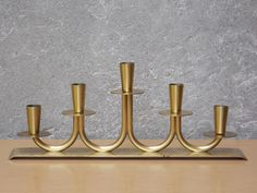 I Like Mike's Mid Century Modern - YSTAD METALL SOLID BRASS 5 CANDLE CENTERPIECE CANDELABRA