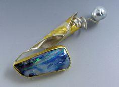 Sterling Silver, 22k, 23k Gold Leaf, Australian Boulder Opal