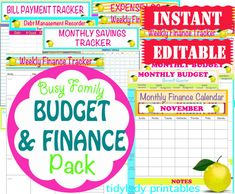 Finally! A solution for organizing those family finances!! INSTANT Download - Editable Budget and Finance Organizer Pack - Bill Pay and Budgeting Printables - 22 Documents.