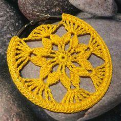 crocheted earrings ONE Crochet Earrings Pattern, Earring pattern, PDF File - Crochet openwork hoop earrings - PDF, pattern for advanced crocheters Buying this item you buy a cr Crochet Diy, Thread Crochet, Crochet Gifts, Crochet Stitches, Crochet Patterns, Tutorial Crochet, Crochet Earrings Pattern, Diy Earrings, Hoop Earrings