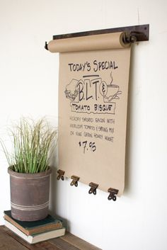 Making lists never seemed so fun and stylish. Add our kitchen scroll to your wall for added convenience and character. Our kitchen scroll is mounted to the wall, with a 50 foot sheet of butcher paper