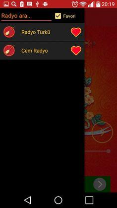 alevi radyolar android uygulaması favori listesi ekran görüntüsüdür.