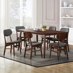 Willow Cherry Modern Angled-leg Wood 7-piece Dining Set - Overstock™ Shopping - Big Discounts on Dining Sets