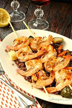 Grilled Balsamic Shrimp with Roasted Vegetable Quinoa is full of flavor but doesn't take hours to prepare! Simple yet flavorful, this is sure to become a favorite!