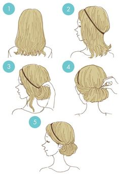 How to do it - nice and simple updo - LadyStyle Cute Simple Hairstyles, Up Hairstyles, Braided Hairstyles, Simple Updo, Medium Hair Styles, Curly Hair Styles, Natural Hair Styles, Hair Arrange, Anime Hair