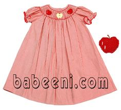 This red stripe smocked dress is very beautiful with three red apples hand embroidered on the smock around the neck. Red zigzag on the sleeves.   Many colors and designs of  children smocked clothing  for your choice at www.babeeni.com