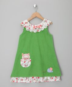 Powell Craft Green Cat & Mouse Corduroy Dress - Infant, Toddler & Girls