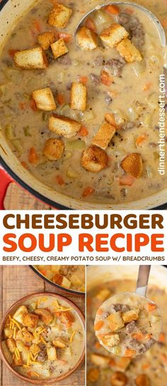 Cheeseburger Soup is a mouthwatering cheesy, beefy, creamy potato soup recipe. #dinner #soup #potatosoup #cheeseburger #hamburger #burger #stew #dinnerthendessert