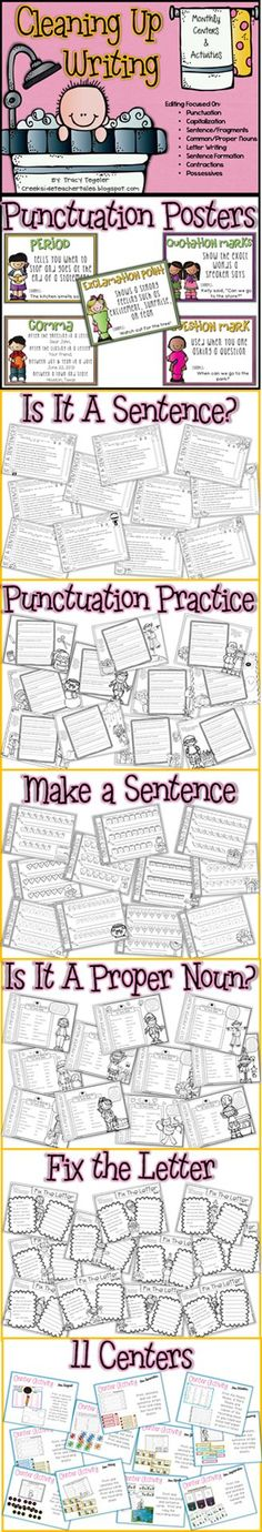 Monthly activities and centers for writing and editing practice! Punctuation, capitalization, proper nouns, common nouns, complete sentences and more!