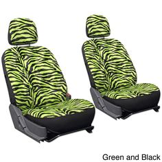 Oxgord Velour Zebra / Tiger 6-Piece Seat Cover Set for Low Back Bucket Front Chairs (Green and Black)