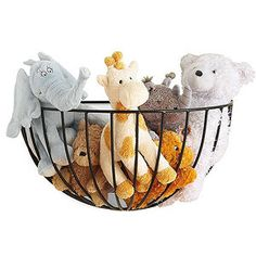 Display toys in hanging planter baskets.    (baskets can be found at http://www.amazon.com/Wall-Mount-Planter-Coco-Liner/dp/B002YG8FLY?linkCode=wsw=tvsh079-20).