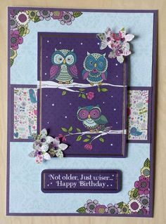 Card made from the Lelli-Bot Crafts Twit Twoo collection. Birthday Cards, Happy Birthday, Owl Punch, Card Making, Crafts, Afternoon Tea, Handmade Cards, Owls, Inspiration