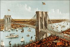 vintage postcard, Brooklyn bridge