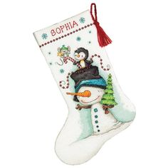 Jolly Trio counted cross stitch stocking kit by Dimensions