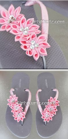 Pink kanzashi flowers on flip flops thongs. - Pink kanzashi flowers on flip flops thongs. Ribbon Art, Ribbon Crafts, Diy Crafts, Flip Flop Craft, Flip Flops Diy, Decorating Flip Flops, Kanzashi Flowers, Ribbon Embroidery, Handmade Flowers