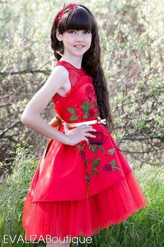 Vestido rojo con rosas de Dama de honor de cumpleaños partido