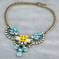 Candy Shop Trendy Ladies New Blue Yellow Water Drop  Statement Pendant Necklace @eBay.co.uk @eBay Fashion @eBay #ebay,