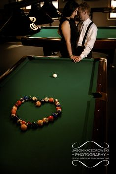 Pool balls in the shape of a heart - Billiards Engagement Photoshoot