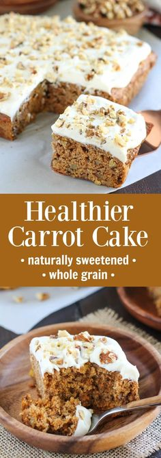 Healthy Carrot Cake - Naturally Sweetened and Whole Grain - Healthier Carrot Cake - Naturally sweetened with honey, applesauce and pineapple, whole grain, topped with honey cream cheese frosting. Brownie Desserts, Oreo Dessert, Mini Desserts, Coconut Dessert, Desserts With Honey, Appetizer Dessert, Coconut Cakes, Lemon Cakes, Baking With Honey