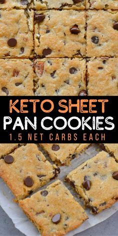 These Keto Chocolate Chip Sheet Pan Cookies have just 1.5 net carbs each and require no chilling! These low carb, gluten free, almond flour, chocolate chip cookies are the perfect keto treat!  #keto #lowcarb #cookies Delicious Cookie Recipes, Healthy Dessert Recipes, Keto Recipes, Yummy Food, Healthy Baking, Recipes Dinner, Chocolate Chip Pan Cookies, Keto Chocolate Chip Cookies, Keto Cookies