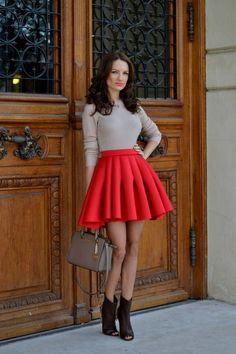Red Pleated Mini A-skirt
