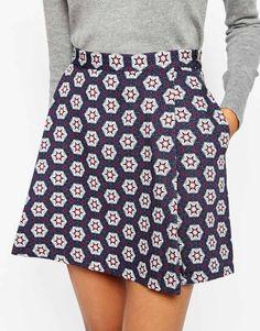 Image 3 ofASOS AFRICA Mini Skirt in Geo Tile Print