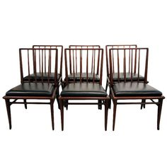 Set of Six walnut dining chairs T.H. Robsjohn-Gibbings Widdicomb | 1stdibs.com