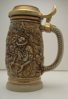 1987 Gold Rush Stein San Francisco Ceramic with Goldtone Lid Ceramarte Man Cave