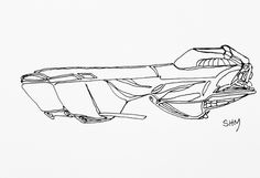 Spaceship #31 - May 31 2016 - ink on paper by Steven H MacDowall 7 inches = 17.78cm X 5 inches = 12.7cm (width x height).