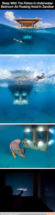 underwater bedroom at floating hotel in zanzibar