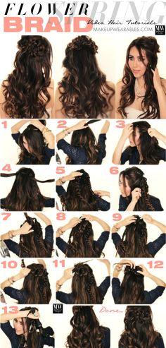 Romantic long hairstyles with curls flower braid hair tutorial Spring Flower Braid Half Up Half Down Hairstyle | Tutorial Video