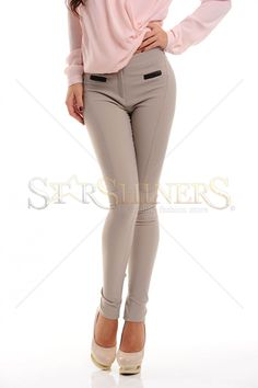 PrettyGirl Same Line Cream Trousers, faux pockets, form-fitting, button and zipper fastening, slightly elastic fabric Cream Trousers, Product Label, Female Bodies, Black Friday, White Jeans, Capri Pants, Zipper, Casual, Fabric