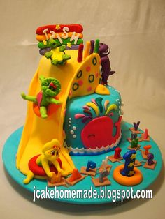 Barney and friends cake by Jcakehomemade, via Flickr